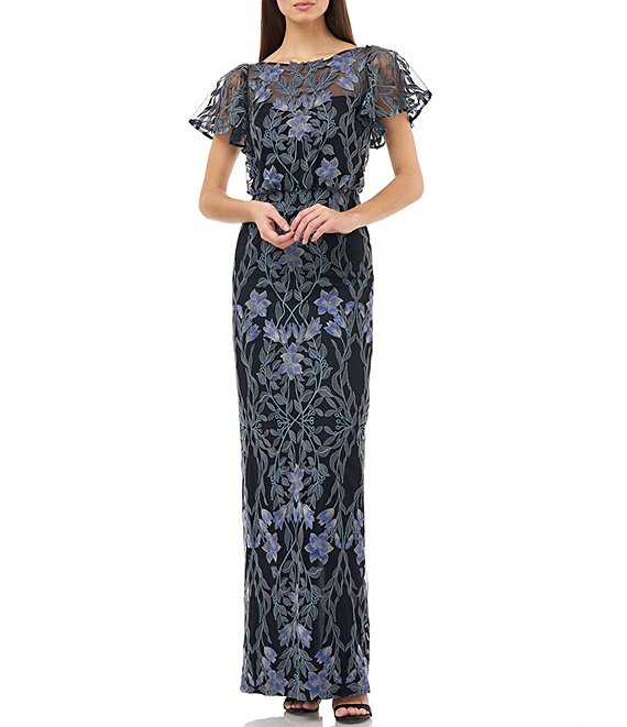 Color:Blue Multi - Image 1 - Illusion Embroidered Blouson Flutter Sleeve Gown