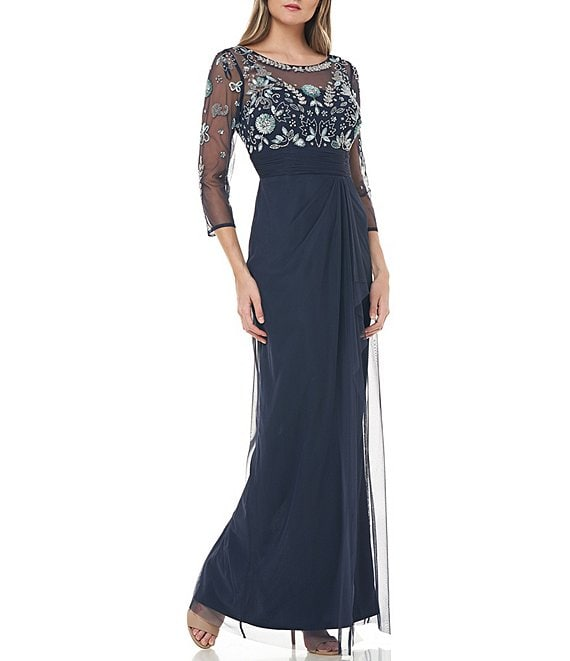 Color:Navy/Mint - Image 1 - Illusion Sleeve Beaded Embroidered Mesh Column Gown