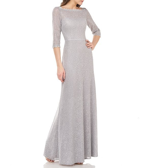 Color:Silver - Image 1 - Js Collections Metallic Lace Embroidered Mesh A-Line Gown