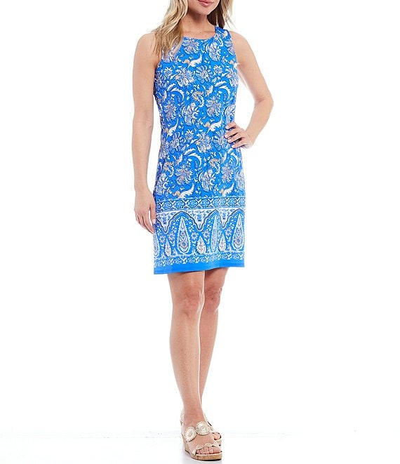 Color:Batik Floral Border Royal - Image 1 - Beth Sleeveless Floral Border Jewel Neck A-Line Dress