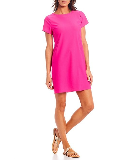 Color:Hot Pink - Image 1 - Ella Short Sleeve T-Shirt Dress