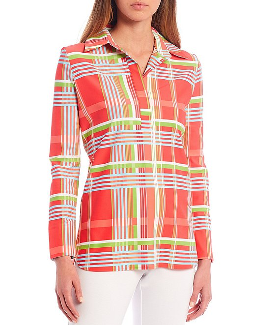 Color:Island Plaid Coral - Image 1 - Hadley Plaid Roll-Tab Sleeve Tunic