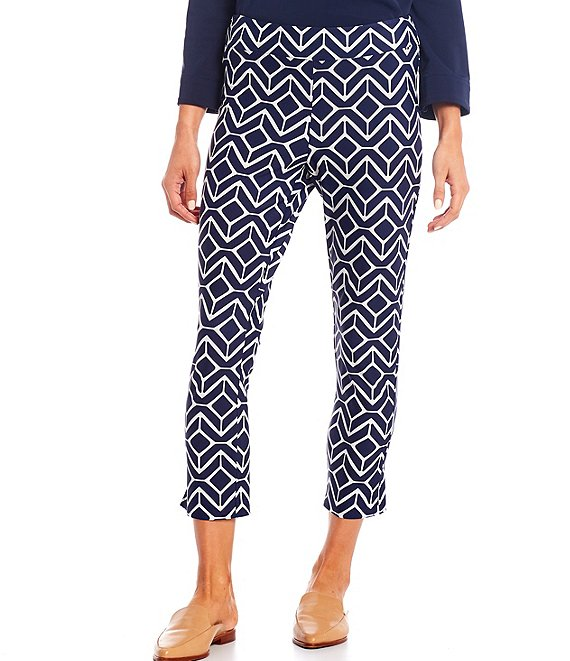 Color:Sail Geo Navy - Image 1 - Lucia Geo Wide Waistband Pull-On Pants