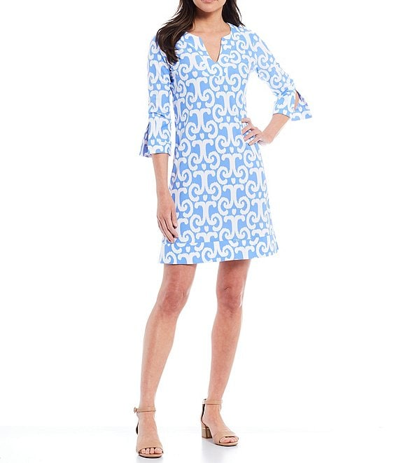 Color:JC Ikat Periwinkle - Image 1 - Megan Short Sleeve Split V-Neck A-Line Dress