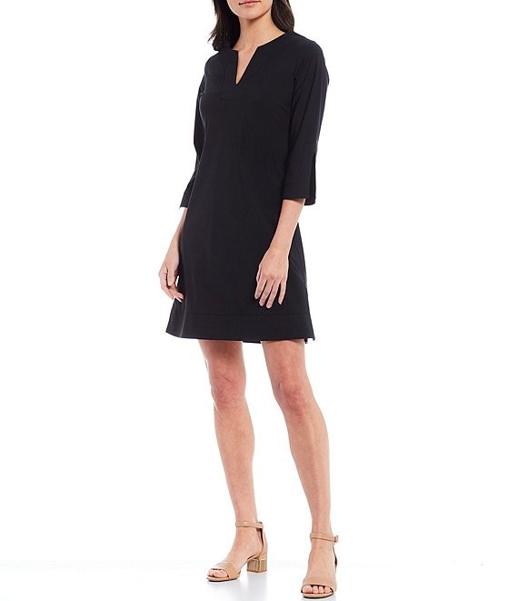 Color:Black - Image 1 - Megan Short Sleeve Split Round Neck Dress