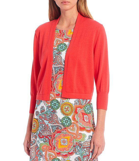Color:Coral - Image 1 - Priscilla Lightweight Cotton Cropped Cardigan