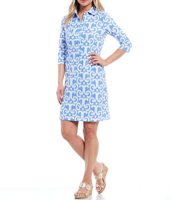 Color:JC Ikat Periwinkle - Image 1 - Susanna 3/4 Sleeve Signature Button Shirt Dress