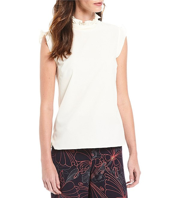 Color:Cameo - Image 1 - Juliana Stand Ruffle Mock Neck Flutter Shoulder Crepe Blouse