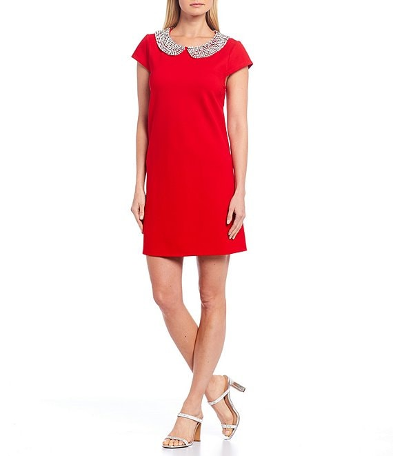 Color:Holly Red - Image 1 - Meredith Cotton Blend Rhinestone Peter Pan Collar Cap Sleeve Dress