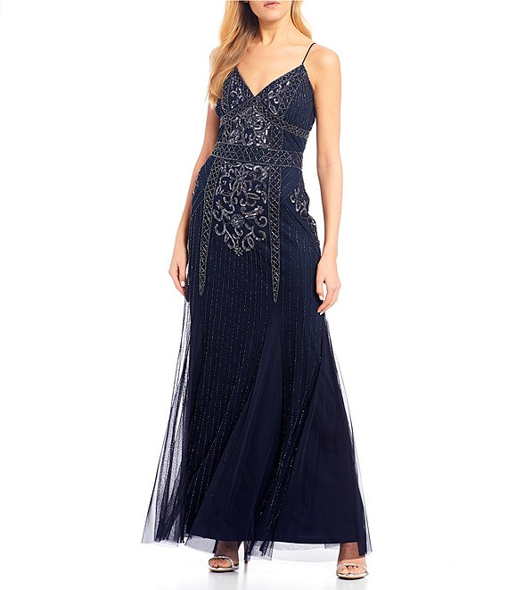 Color:Navy - Image 1 - Spaghetti Strap Beaded Long Dress