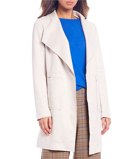 Color:Cream - Image 1 - Long Sleeve Open Front Jacket