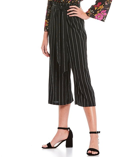 Color:Black/Tan - Image 1 - Stripe Wide Leg Tie Front Cropped Pants