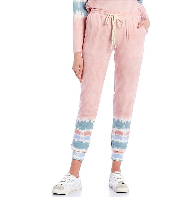 Color:Blush/Sage/Sky - Image 1 - Tie-Dye Jogger Pants