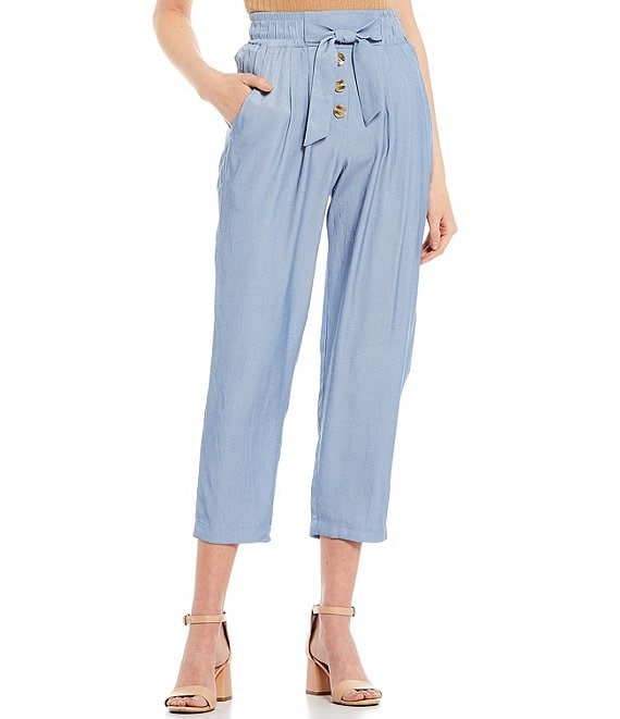 Color:Blue - Image 1 - Tie Front Pants