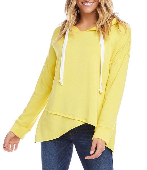 Color:Lemon - Image 1 - Asymmetric Fleece Long Sleeve Hoodie
