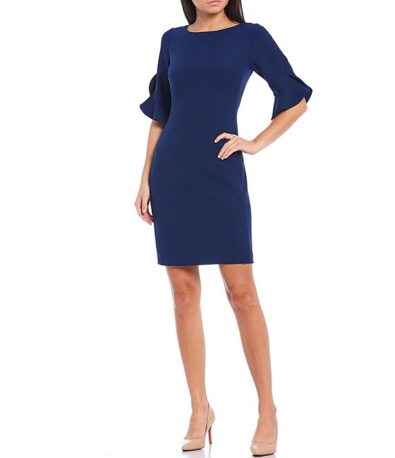 Color:Canal - Image 1 - 3/4 Flounce Sleeve Sheath Dress