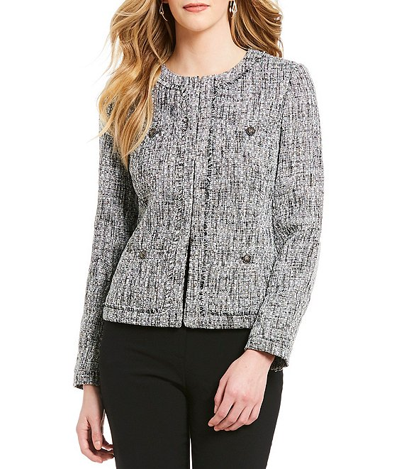 Color:Black/White - Image 1 - 4 Pocket Tweed Jacket