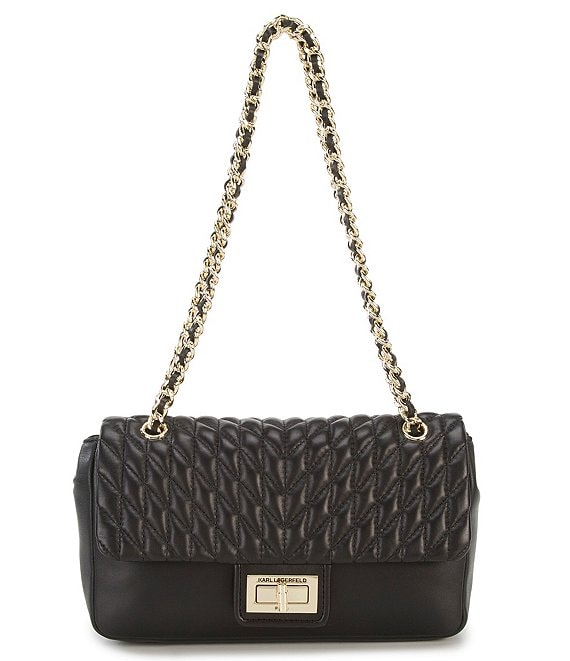 KARL LAGERFELD PARIS Agyness Chevron Diamond-Quilted Demi Shoulder Bag