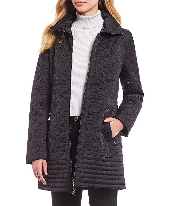 Color:Black - Image 1 - Camila Long Quilted Coat
