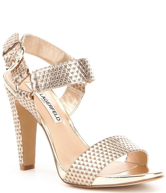 KARL LAGERFELD PARIS Cieone Metallic Leather Ankle Strap Dress Sandals