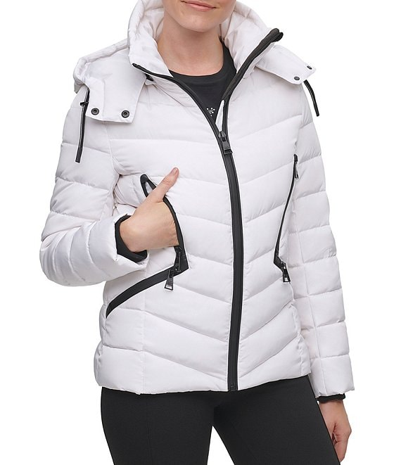 Color:Optic White - Image 1 - Detachable Hood Down Puffer Coat