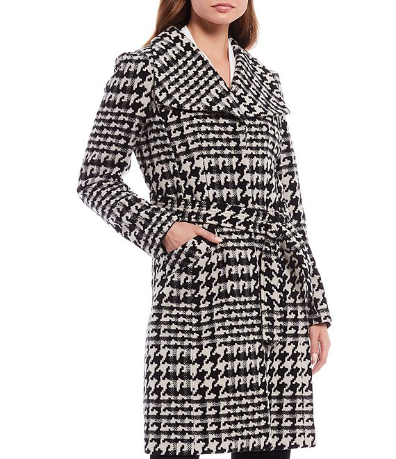 Color:Black/White - Image 1 - Houndstooth Wool Blend Wide Lapel Belted Coat