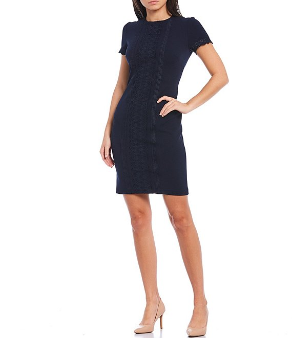 Color:Navy - Image 1 - Lace Trim Short Sleeve Scuba Crepe Sheath Dress