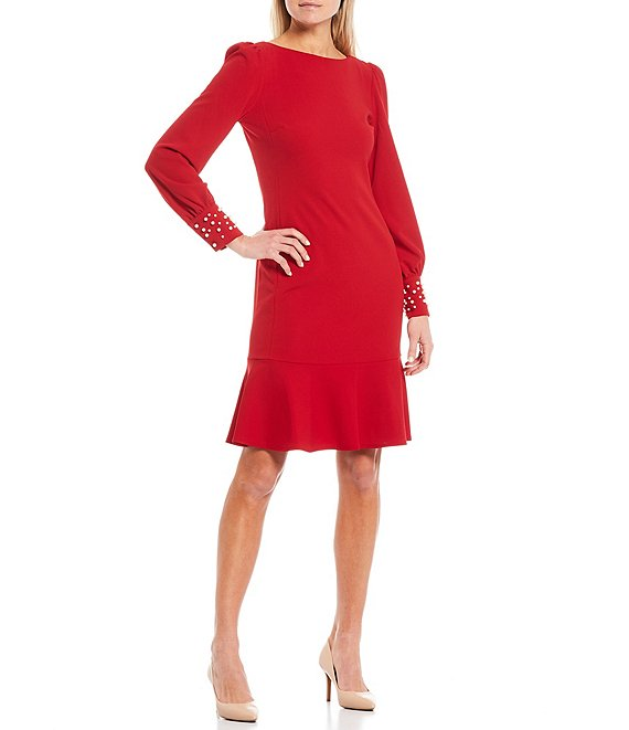 Color:Red - Image 1 - Long Sleeve Pearl Cuff Flounce Hem Scuba Crepe Sheath Dress