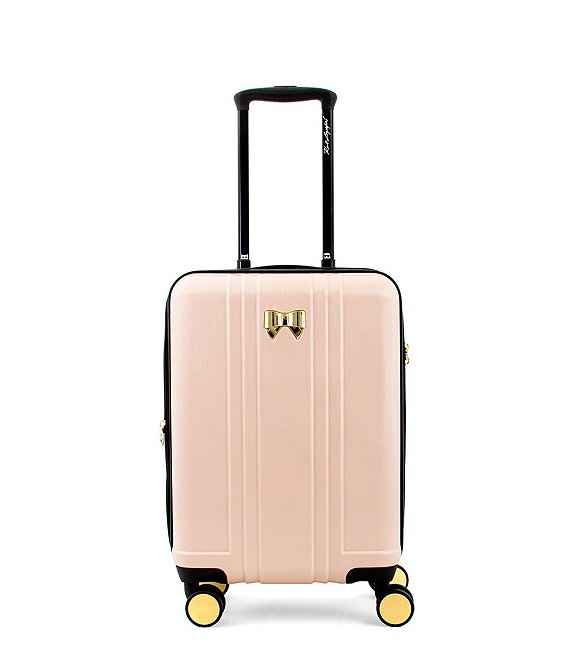 Color:Pink - Image 1 - Pleats and Bows Carry-On Spinner