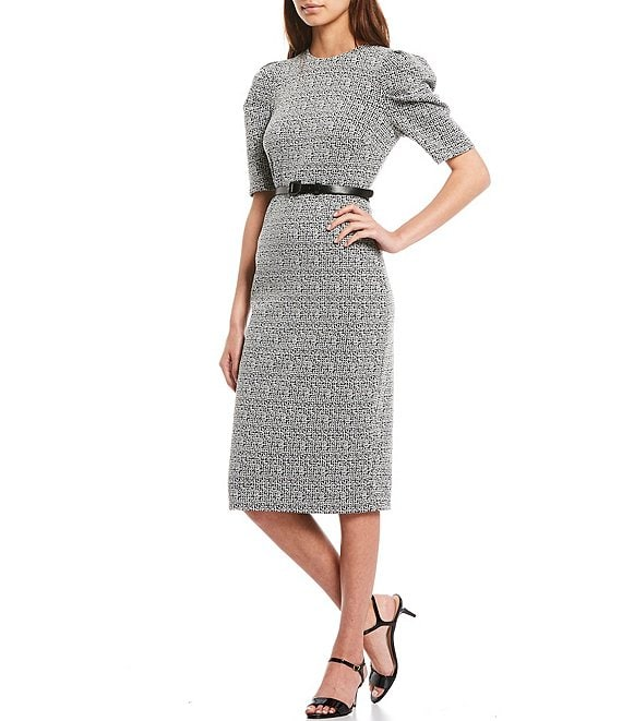 Color:Black/White - Image 1 - Puff Sleeve Knit Tweed Belted Midi Sheath Dress