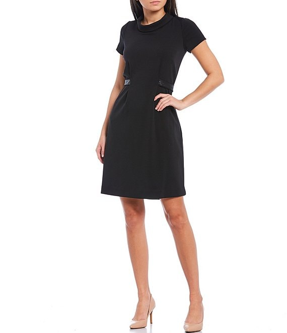 KARL LAGERFELD PARIS Roll Collar Short Sleeve Stretch Ponte A-Line Dress