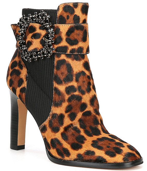 Color:Leopard/Black - Image 1 - Vania Jewel Buckle Leopard Print Haircalf Dress Booties