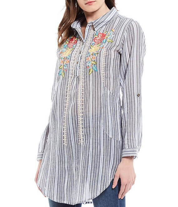Color:Grey Stripe - Image 1 - Emma Embroidered Stripe Cotton Roll-Tab Sleeve Tunic