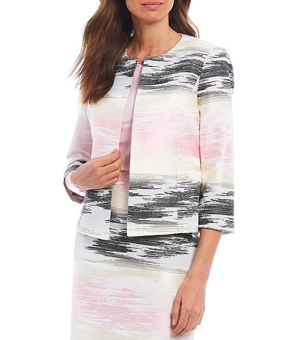 Color:Tutu Pink Multi - Image 1 - 3/4 Sleeve Graphic Ombre Jacquard Cotton Blend Cardigan Jacket
