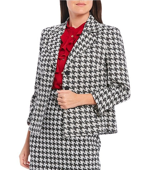 Color:Black Multi - Image 1 - Houndstooth Jacquard Three Button Boxy Jacket