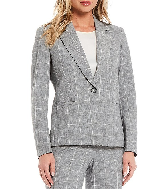 Color:Fedora Grey/Lily White - Image 1 - Melange Windowpane One Button Notch Collar Jacket
