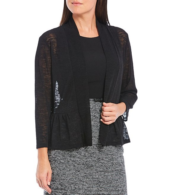 Color:Black - Image 1 - Onion Skin 3/4 Sleeve Open Front Peplum Cardigan