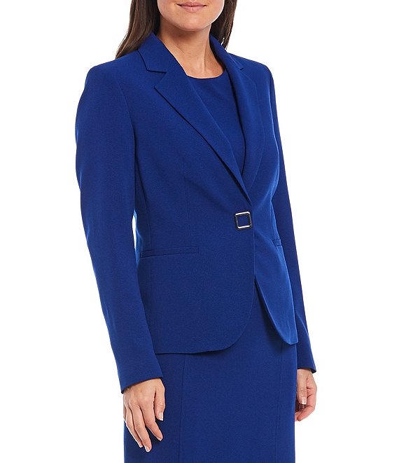 Color:Twilight Blue - Image 1 - Petite Size Snap Front Notch Lapel Long Sleeve Crepe Jacket