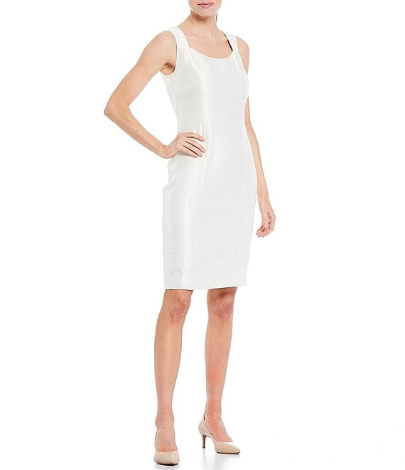 Color:Ivory - Image 1 - Sleeveless Square Neck Metallic Sheath Dress