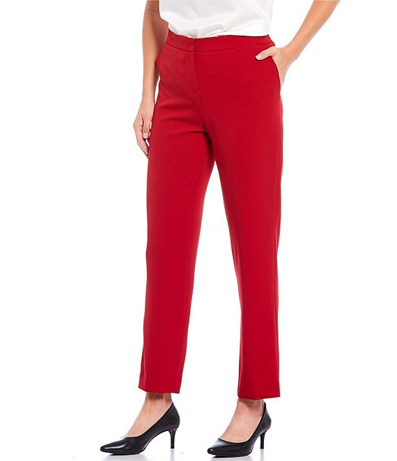 Color:Fire Red - Image 1 - Stretch Crepe Elastic Back Pant