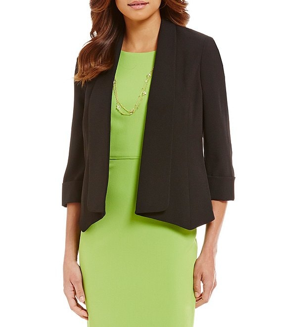 Color:Black - Image 1 - Stretch Crepe Jacket