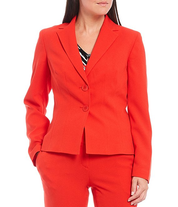 Color:Scarlet - Image 1 - Stretch Crepe Notch Lapel Two Button Jacket