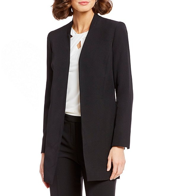 Color:Black - Image 1 - Stretch Crepe Open-Front Topper Jacket