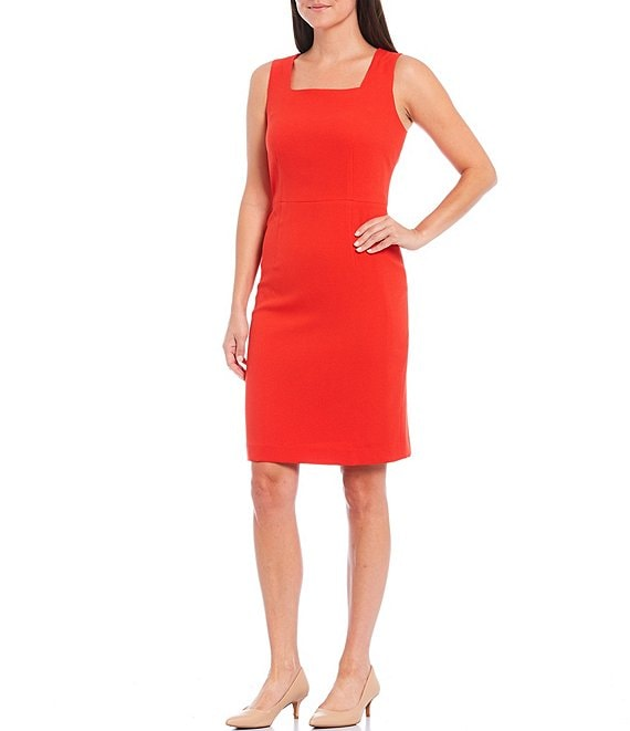 Color:Scarlet - Image 1 - Stretch Crepe Square Neck Sleeveless Sheath Dress