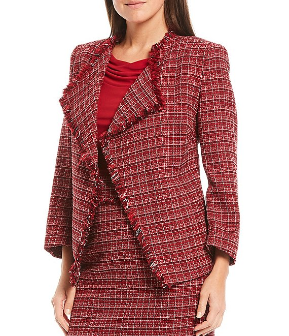 Color:Fire Red Multi - Image 1 - Tweed Long Sleeve Open Front Fringe Jacket