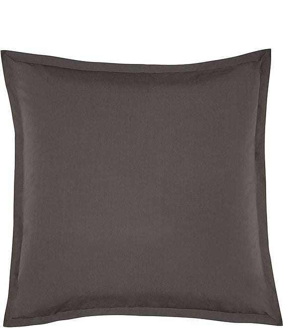 Color:Coal Grey - Image 1 - Lorimer Washed Percale Euro Sham Pair
