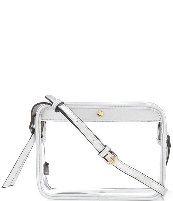 Color:Silver - Image 1 - Clear Camera Crossbody Bag