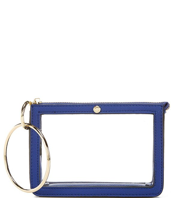 Color:Blue - Image 1 - Clear Ring Handle Wristlet