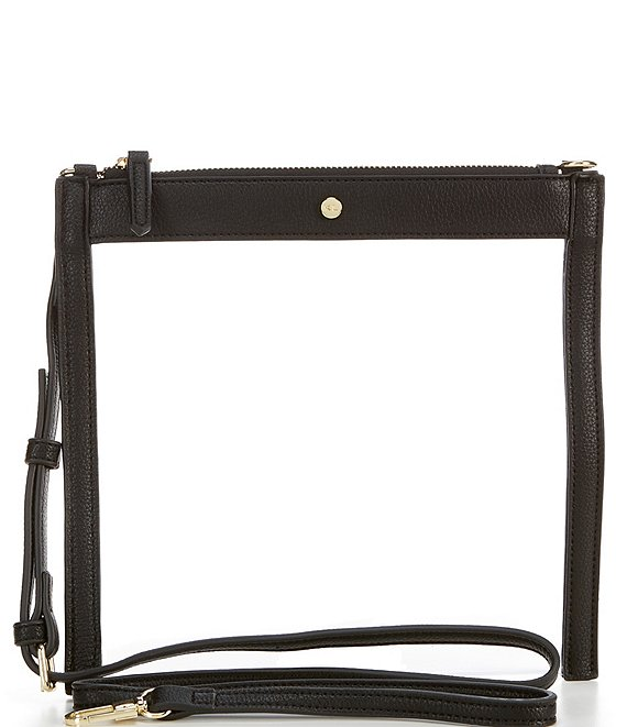 Color:Black - Image 1 - Clear Top Zip Crossbody Bag