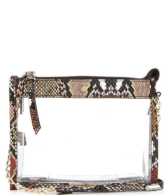 Color:Snake - Image 1 - Clear Top Zip Snake Stadium Crossbody Bag